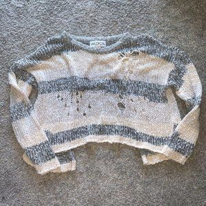 Wildfox Cable Knit Sweater Beige Gray Split Back